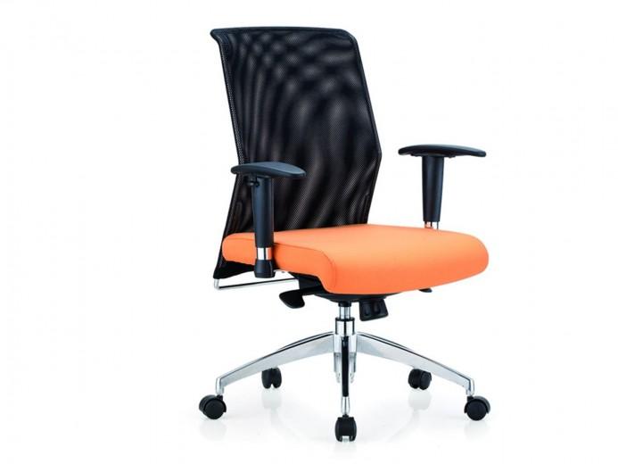 Scaun de birou ergonomic tapitat cu stofa Novo S69 Black / Orange, l65xA58xH102-108 cm
