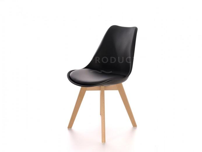 Scaun din plastic cu picioare din lemn si sezut tapitat cu piele ecologica Sven Black, l46xA43xH80 cm