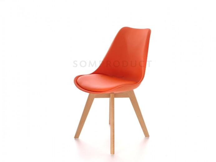 Scaun din plastic cu picioare din lemn si sezut tapitat cu piele ecologica Sven Orange, l46xA43xH80 cm