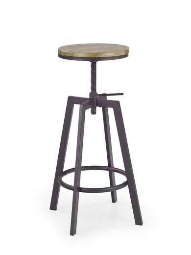 Scaun de bar din MDF cu picioare metalice H-64 Coffee, Ø30xH63-80 cm