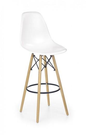 Scaun de bar din plastic cu picioare din lemn H-51 White / Beech, l54xA46xH115 cm