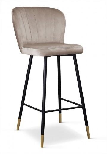 Scaun de bar tapitat cu stofa, cu picioare metalice Shelly Bej / Negru / Auriu, l50xA53xH106 cm