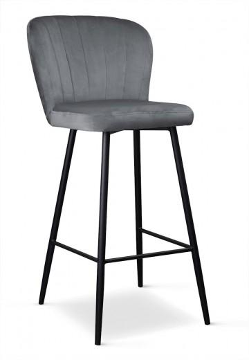 Scaun de bar tapitat cu stofa, cu picioare metalice Shelly Gri / Negru, l50xA53xH106 cm