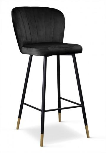 Scaun de bar tapitat cu stofa, cu picioare metalice Shelly Negru / Auriu, l50xA53xH106 cm