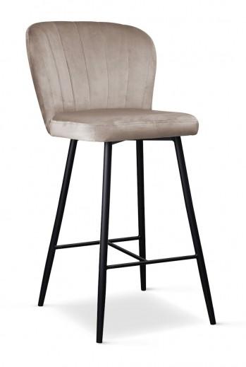 Scaun de bar tapitat cu stofa, cu picioare metalice Shelly Small Bej / Negru, l50xA53xH96 cm