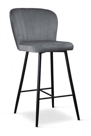 Scaun de bar tapitat cu stofa, cu picioare metalice Shelly Small Gri / Negru, l50xA53xH96 cm