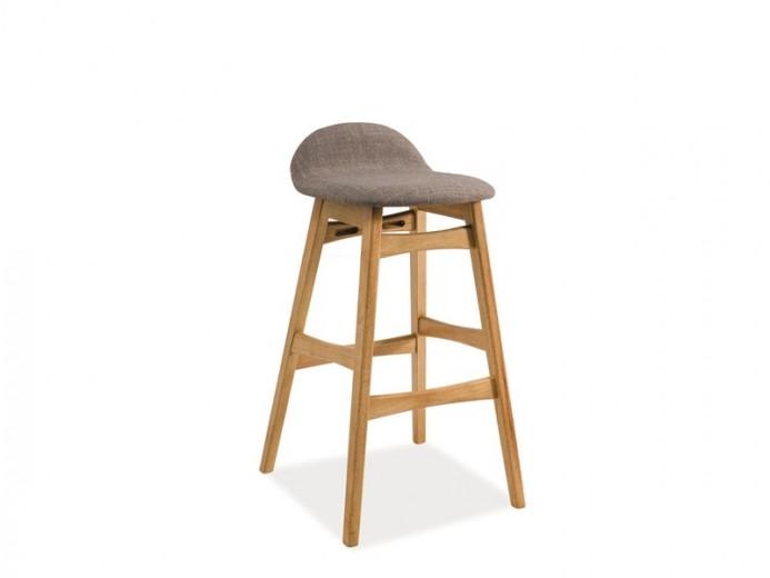 Scaun de bar tapitat cu stofa si picioare din lemn Trento Gri / Stejar, l37xA37xH87 cm