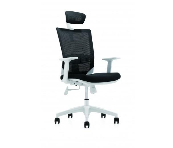 Scaun de birou ergonomic cu tetiera, tapitat cu stofa Novo S133 Grey, l66xA56xH98-106 cm