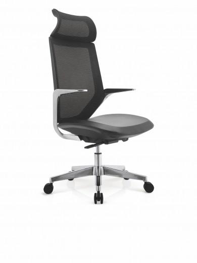 Scaun de birou ergonomic tapitat cu piele ecologica Genesis II Negru, l64xA60xH113-125 cm