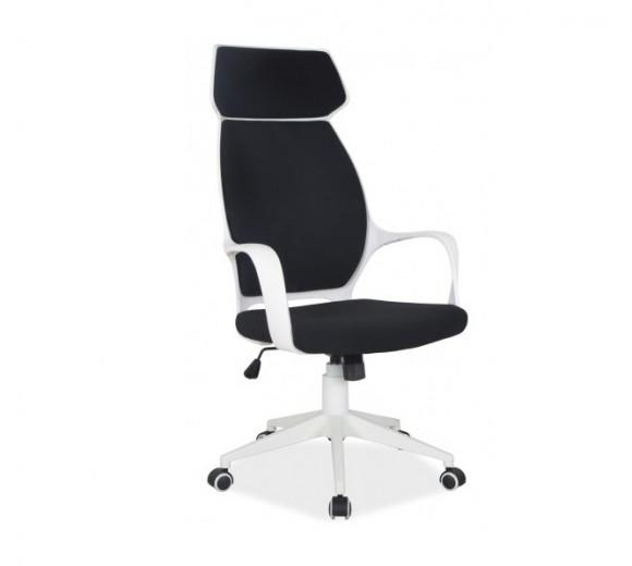 Scaun de birou ergonomic tapitat cu stofa Q-188 Black / White, l63xA47xH117-127 cm