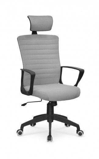 Scaun de birou ergonomic, tapitat cu piele ecologica Bender Gri, l59xA62xH124-134 cm