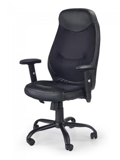 Scaun de birou ergonomic, tapitat cu piele ecologica Georg Negru, l64xA64xH106-117 cm