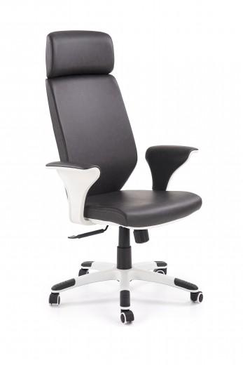 Scaun de birou ergonomic, tapitat cu piele ecologica Lonatti Negru / Alb, l75xA64xH117-126 cm