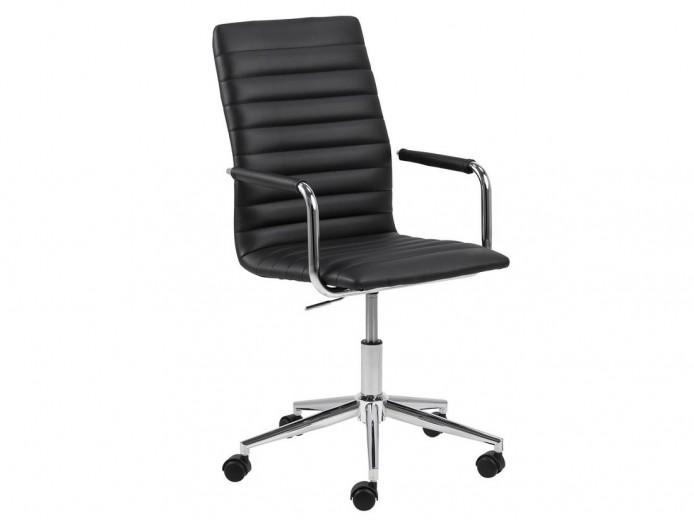 Scaun de birou ergonomic tapitat cu piele ecologica Winslow Negru, l45xA58xH103 cm