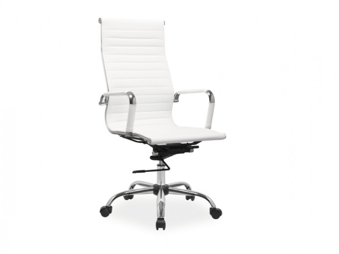 Scaun de birou ergonomic, tapitat cu piele ecologica Zion Alb, l55xA47xH108-116 cm