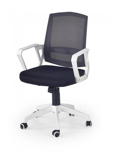 Scaun de birou ergonomic tapitat cu stofa Ascot Negru / Alb / Gri, l55xA57xH94-104 cm