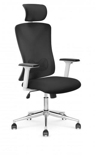 Scaun de birou ergonomic tapitat cu stofa Enrico Alb / Negru, l56xA63xH121-131 cm