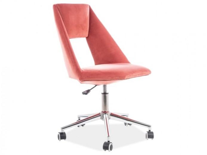 Scaun de birou ergonomic tapitat cu stofa Pax Velvet Roz, l54xA46xH84-94 cm
