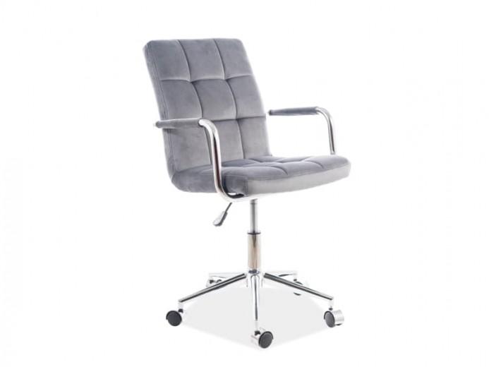 Scaun de birou ergonomic tapitat cu stofa Q-022 Velvet Gri, l51xA40xH87-97 cm