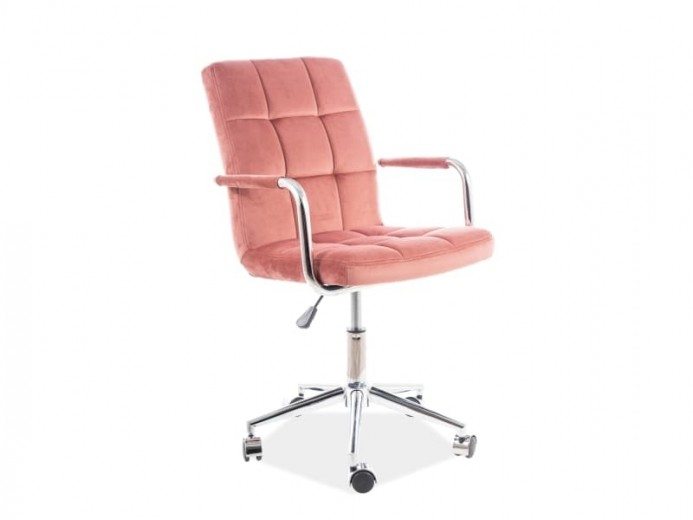 Scaun de birou ergonomic tapitat cu stofa Q-022 Velvet Roz, l51xA40xH87-97 cm