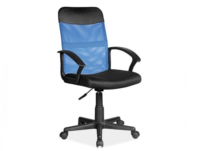 Scaun de birou ergonomic tapitat cu stofa Q-702 Albastru / Negru, l49xA48xH95-104 cm
