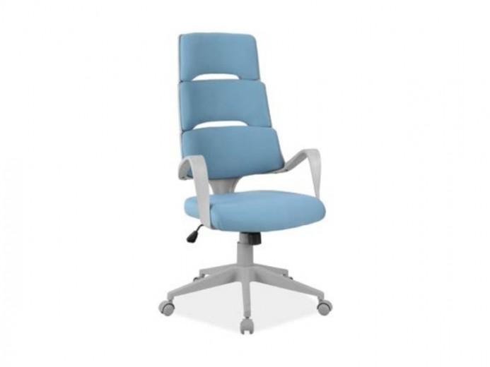 Scaun de birou ergonomic tapitat cu stofa Q-889 Albastru, l64xA49xH118-128 cm