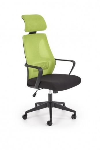 Scaun de birou ergonomic tapitat cu stofa Valdez Lime / Negru, l64xA60xH116-122 cm