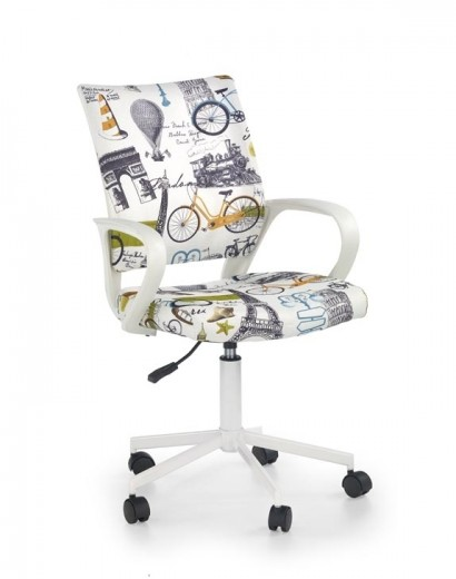 Scaun de birou pentru copii, tapitat cu stofa Ibis Paris, l53xA59xH88-100 cm