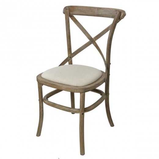 Scaun din lemn de cauciuc si furnir, tapitat cu stofa Limena LI885A Light Brown / Ivory, l53xA51xH87 cm