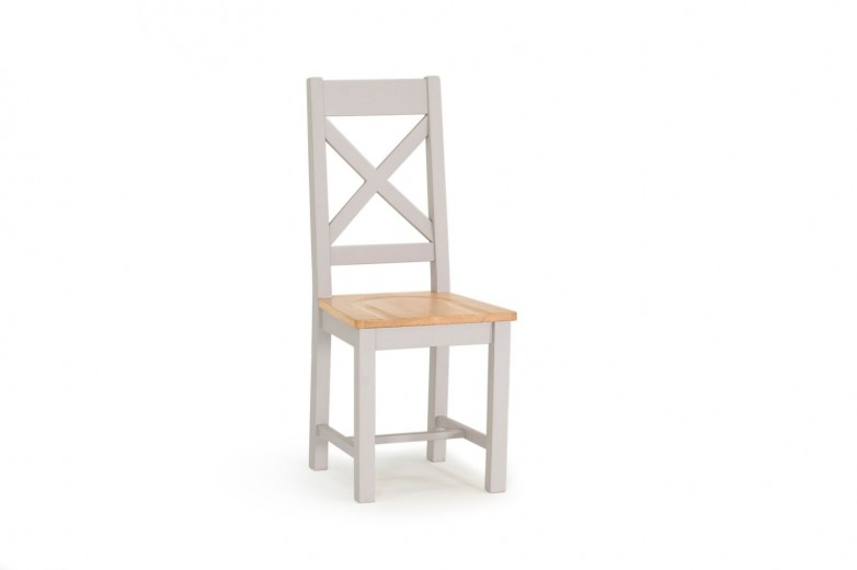 Scaun din lemn de salcam, cu sezut din lemn de stejar Clemence Grey / Oak, l45xA48xH105 cm