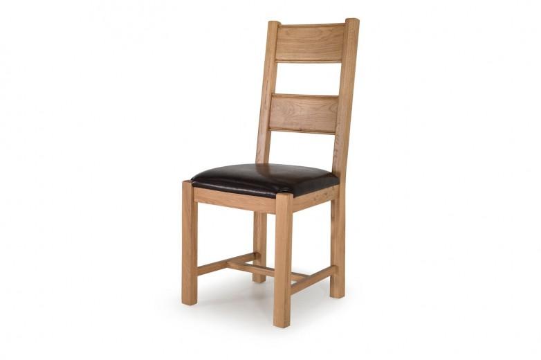 Set 2 scaune din lemn de stejar si furnir, cu sezut tapitat cu piele ecologica Breeze Oak / Brown, l46xA52xH105 cm