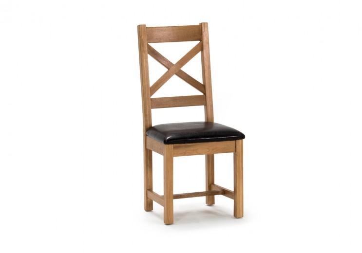 Scaun din lemn de stejar si furnir, cu sezut tapitat cu piele ecologica Ramore Cross Oak, l45xA50xH102 cm