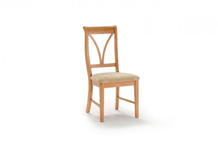 Scaun din lemn de stejar si furnir, cu sezut tapitat cu stofa Carmen Oak, l46,8xA53,7xH98,7 cm