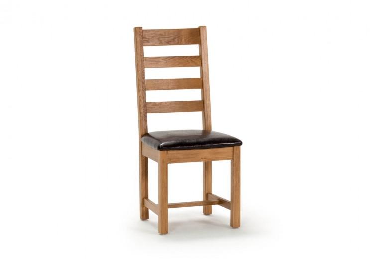 Scaun din lemn de stejar si furnir, cu sezut tapitat cu piele ecologica Ramore Ladder Oak, l45xA50xH102 cm
