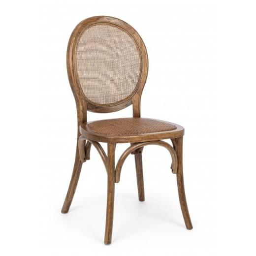 Scaun din lemn de ulm, cu sezut din ratan natural Globo Maro, l45xA42xH93 cm