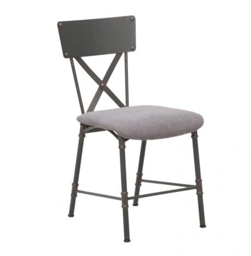 Scaun tapitat cu stofa, cu picioare metalice Manhattan Gri, l41xA56xH80,5 cm