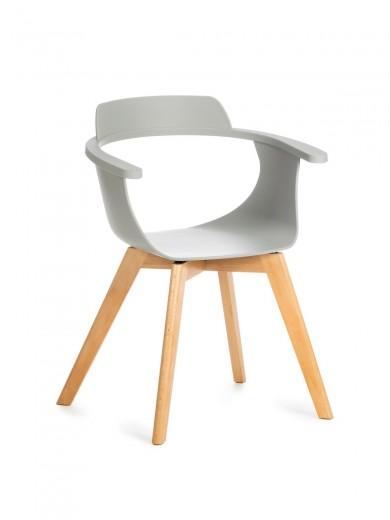 Scaun din plastic cu picioare de lemn Alan Grey, l51xA60xH80 cm