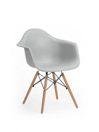 Scaun din plastic cu picioare de lemn Echo Grey, l64xA60xH81 cm