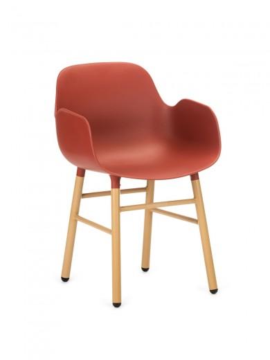 Scaun din plastic cu picioare de lemn Wayne Red, l55xA56xH80 cm