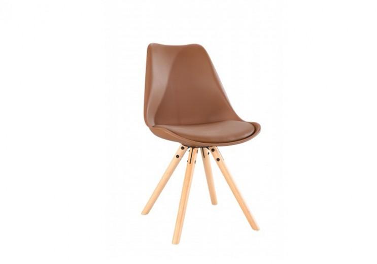 Scaun din plastic cu picioare din lemn si sezut tapitat cu piele ecologica Ice Coffe, l46xA43xH81,5 cm