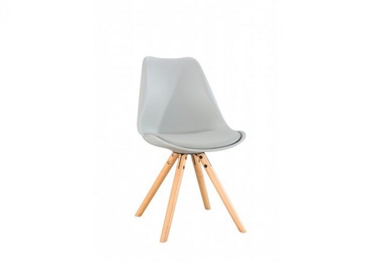 Scaun din plastic cu picioare din lemn si sezut tapitat cu piele ecologica Ice Grey, l46xA43xH81,5 cm