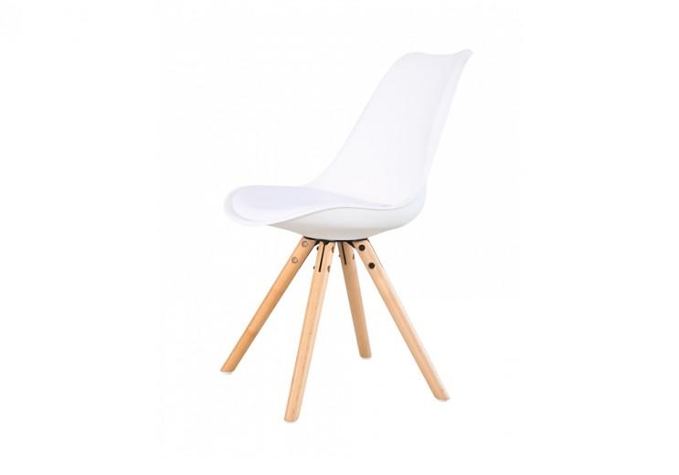 Scaun din plastic cu picioare din lemn si sezut tapitat cu piele ecologica Ice White, l46xA43xH81,5 cm