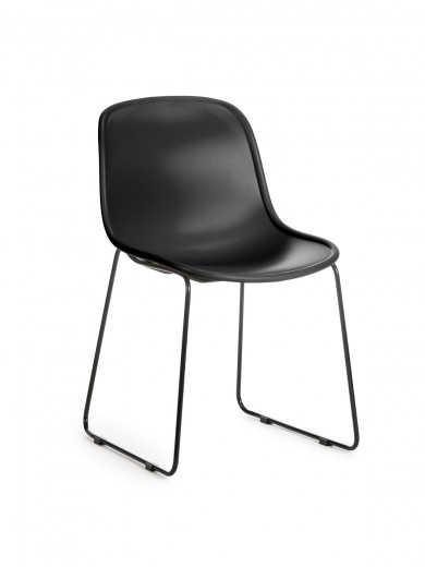 Scaun din plastic, cu picioare metalice Cosmo Black, l57xA54xH78cm
