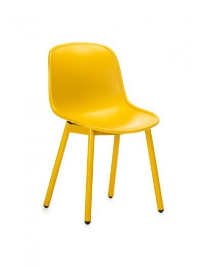 Scaun din plastic, cu picioare metalice Odyn Yellow, l57xA54xH78cm