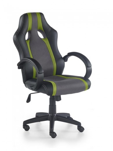Scaun gaming tapitat cu piele ecologica Radix Gri / Verde, l60xA69xH107-117 cm