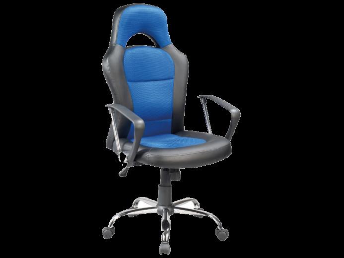 Scaun gaming tapitat cu piele ecologica si stofa Q-033 Albastru / Negru, l63xA50xH116-126 cm