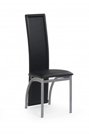 Scaun tapitat cu piele ecologica, cu picioare metalice K94 Black, l42xA50xH111 cm