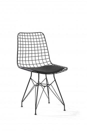 Scaun pentru copii din metal, cu sezut tapitat cu piele ecologica Dark Metal Black, l53xA45xH82 cm