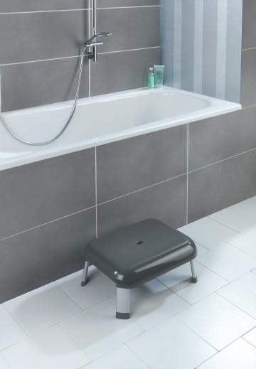 Scaun mic pentru dus, picioare din aluminiu, Secura Premium Antracit, l46,5xA36xH20 cm