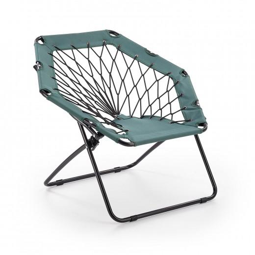 Scaun pliabil pentru copii, din metal si poliester Widget Dark Green / Black, l83xA72xH75 cm